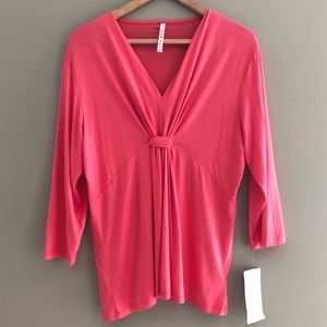 Leo & Nicole 3/4 Sleeve VNeck New Pink Knot XL 16